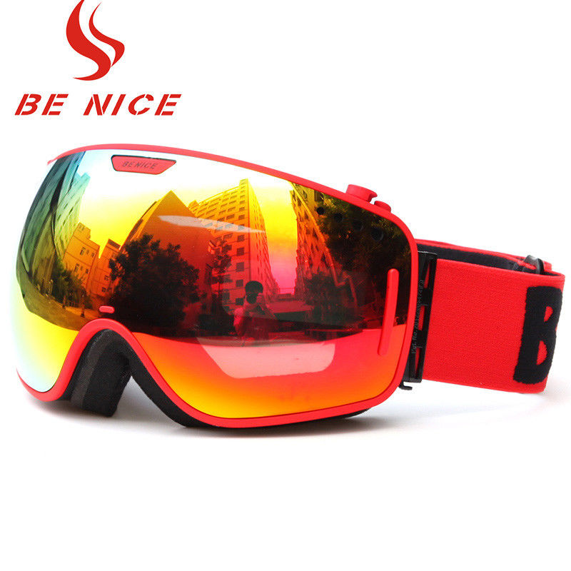 Durable Comfortable Red Snowboard Goggles , Double Lens Ski Goggles With Anti Burst